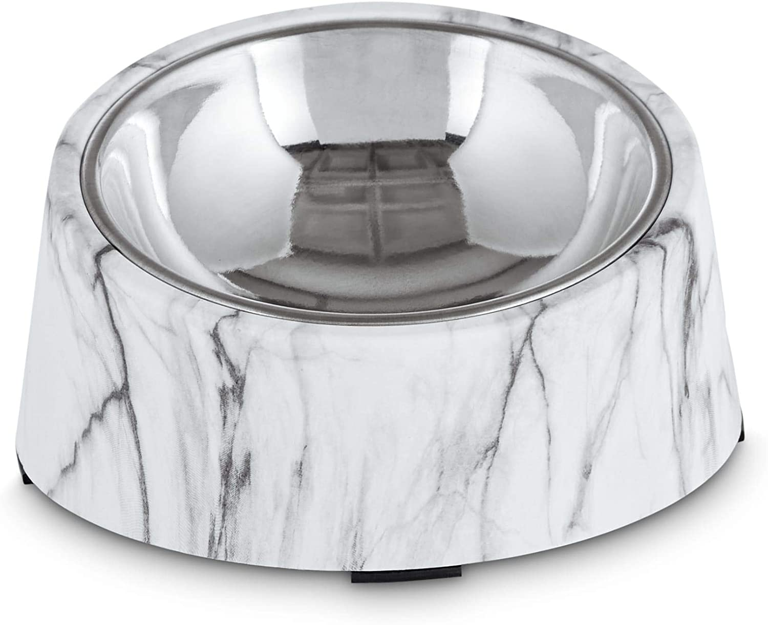 Harmony Slanted Marble-Print Base and Stainless-Steel Dog Bowl Set, 1.7 Cups, Medium, White