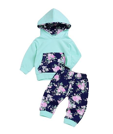314fff15344b0 IWOKA 2Pcs Newborn Baby Girls Hooded Pocket Printed T-Shirt Top with Floral  Long Pants