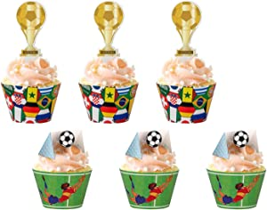 2018 World Cupcake Toppers Wrappers Russia- Soccer Game Cake Party Supplies Decorations