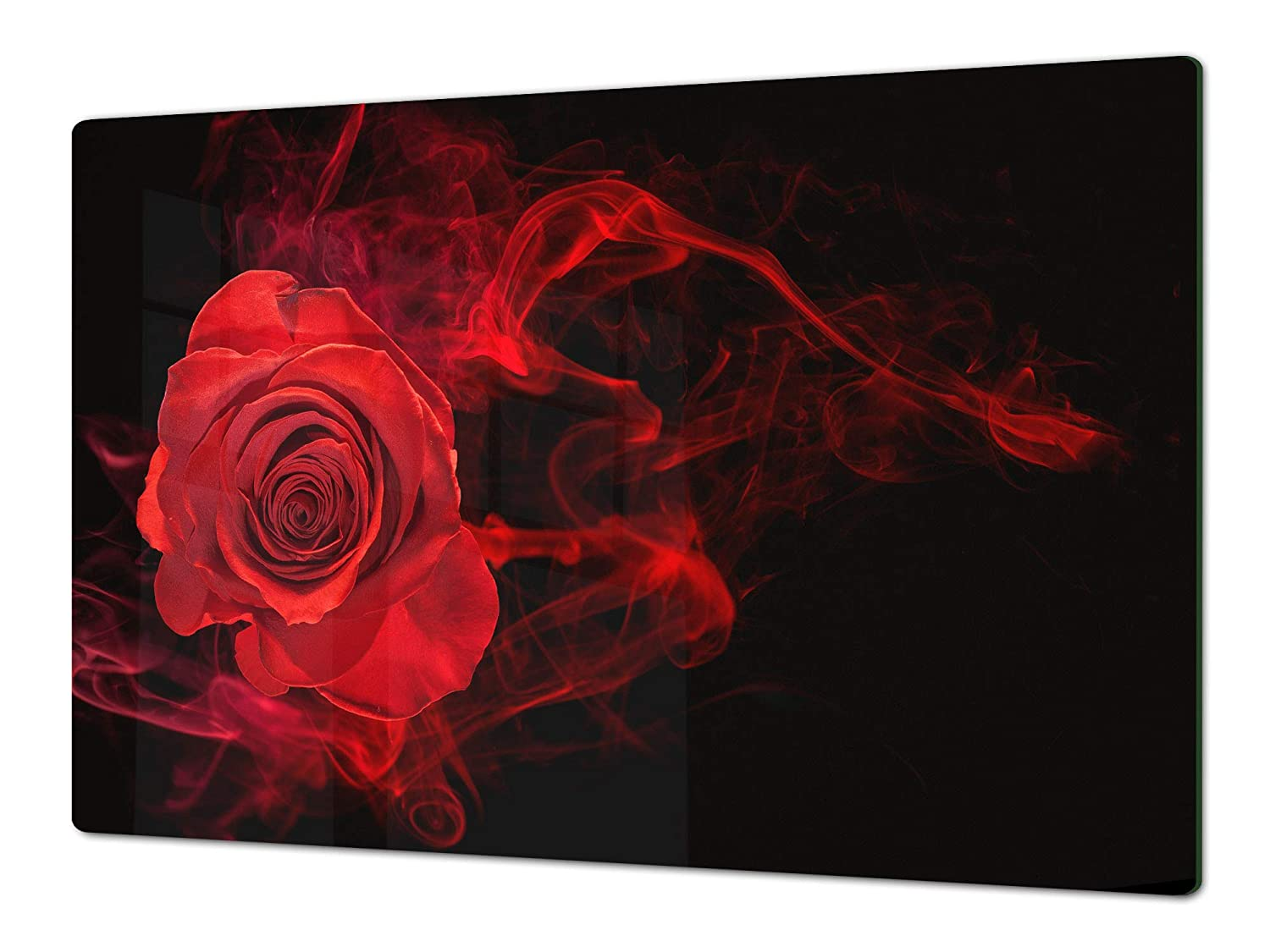 """; Flower series DD06B 15,75/"""" x 20,47/"""" Glass Cutting Board SINGLE: 80 x 52 cm 31,5/"""" x 20,47/"""" ; DOUBLE: 40 x 52 cm Induction Cooktop Cover ENORMOUS Tempered GLASS Chopping Board"""