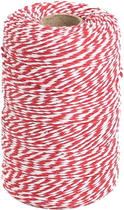 Red and White Twine Butchers 328 Feet 100m Cotton Bakers Twine Perfect For Baking Crafts and Christmas Gift Wrapping