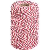 Tenn Well Red and White Twine, 200m Cotton Bakers Twine Perfect For Baking, Butchers, Crafts, Christmas Gift Wrapping