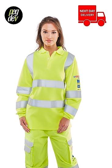 67c6dd13e2ff Quality FIRE Retardant Anti-Static HI VISABILITY Long Sleeved Yellow Polo  Shirt Sizes Small - 6XL (M)  Amazon.co.uk  Clothing