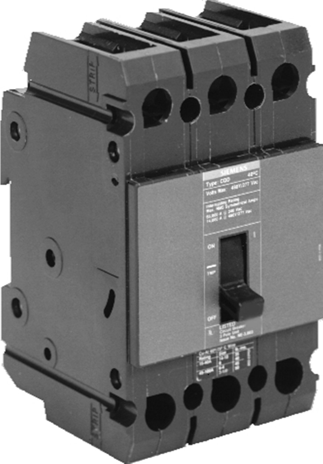 Siemens CQD315 15-Amp Three Pole 480/277V AC 14KAIC Cable In/Cable Out Breaker