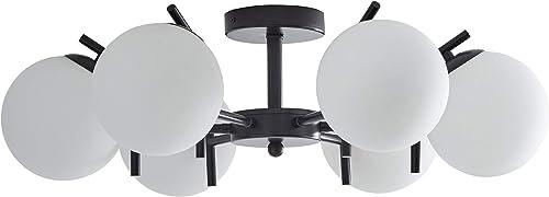 Rivet Modern 6 Globe Flush Mount Metal Ceiling Pendant Chandelier Fixture – 26 x 26 x 8 Inches, Matte Black