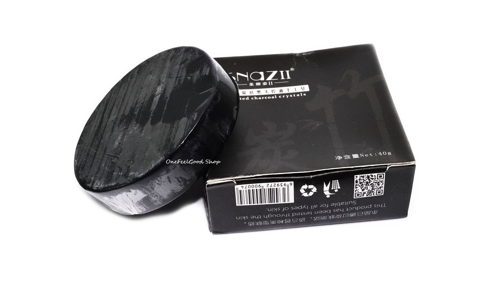 3X Snazii soap Bamboo charcoal handmade soap Treatment skin care natural Skin whitening soap blackhead remover acne treatment oil control net wt.40g (Pack of 3 Bar) by onefeelgood shop
