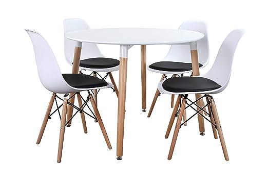 Noorsk Design Conjunto Mesa 100 + 4 sillas Tower + 4 Cojines ...