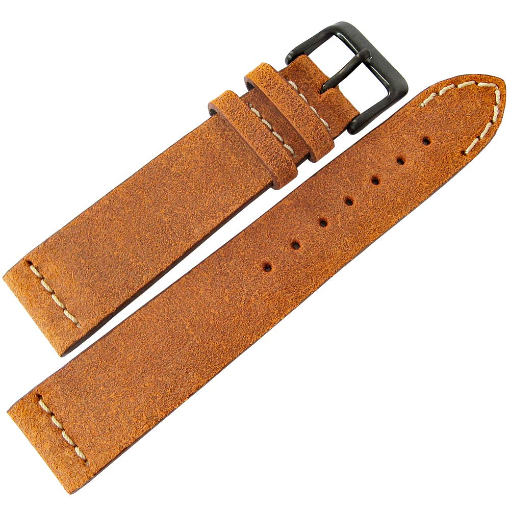 ColaReb 22mm Spoleto Short Rust Brown Leather PVD Buckle Watch Strap