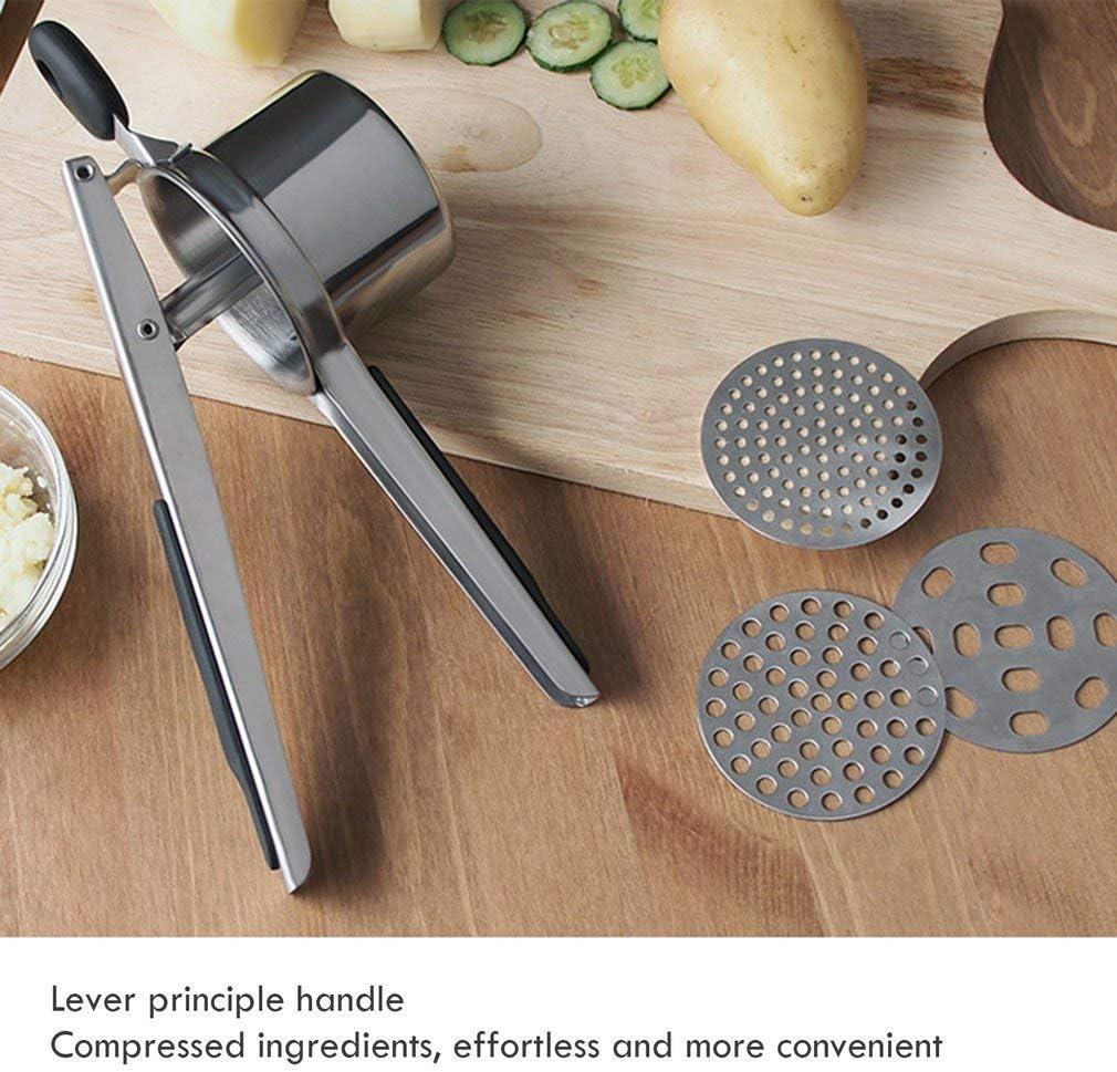 Multifunzionale in Acciaio Inox Potato Press,Masher Frutta Press TatIT0aYang Patate Fango Press con 3 Intercambiabile Disco dAcciaio Inox Soft Touch Handle