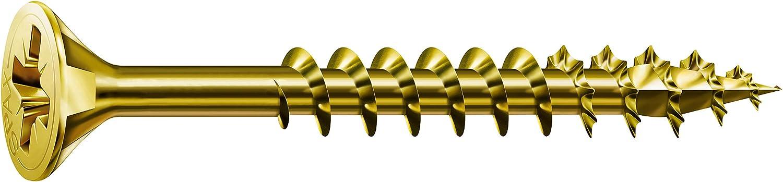 Spax–Vis universelle à tête fraisée Phillips Z 4Coupe filetage partiel acier zingué passivé Jaune A2L–0291020350305, 291020450605