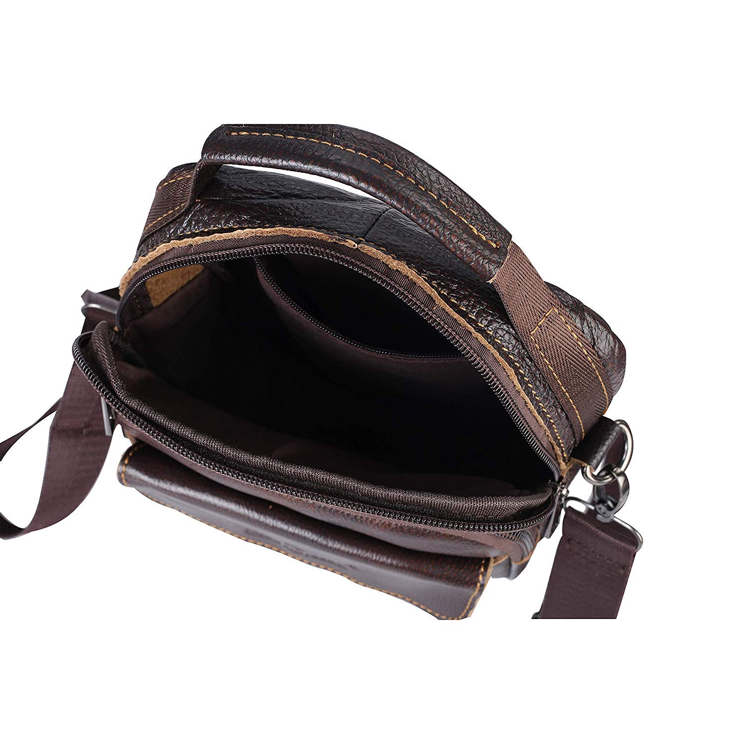 Men Bag Small Messenger Bag Water Resistant Men Shoulder Crossbody Bags and Purses Genuine Leather Pocket for Men and Women Daily Business Travel Work
