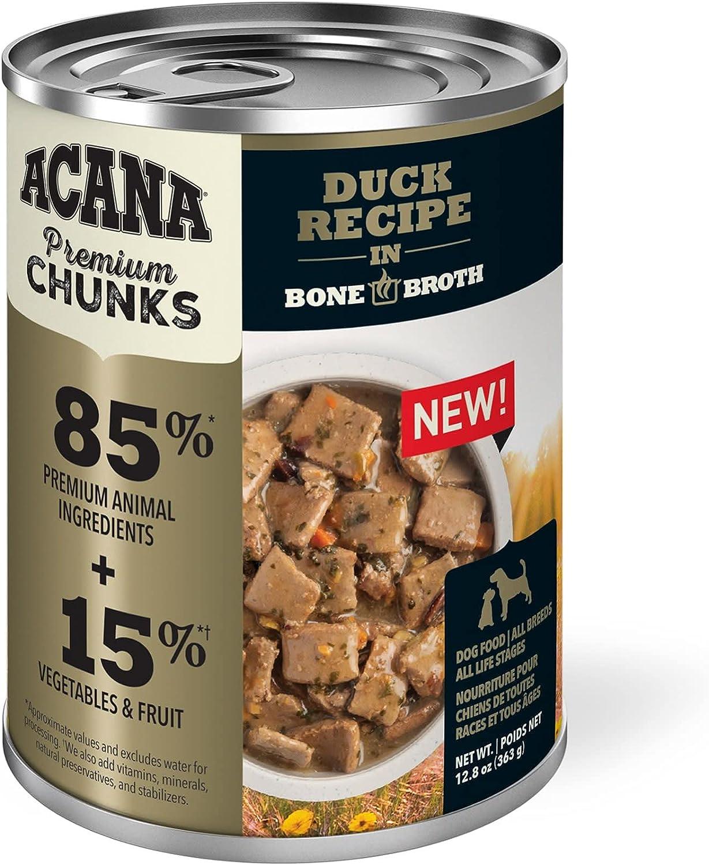 ACANA Grain-Free Premium Chunks Duck Recipe in Bone Broth Wet Dog Food, 12.8 oz., Case of 12, 12 X 12.8 OZ