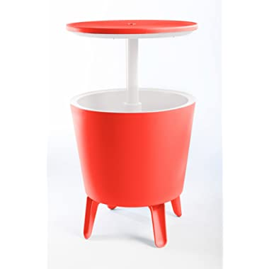 Keter 7.5-Gal Cool Bar Modern Smooth Style with Legs Outdoor Patio Pool Cooler Table, Coral