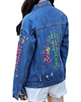 Vintage Jeans Jacket With Embroidery Women Oversized Long Sleeve Jaqueta Jeans Feminino Casual Bombers Chaqueta Vaquera