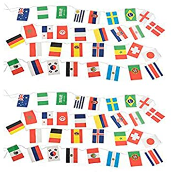 bd75246d9c3c Bdecoll 2 Pack of 2018 FIFA World Cup Russia Soccer Football Flags - Top 32  String