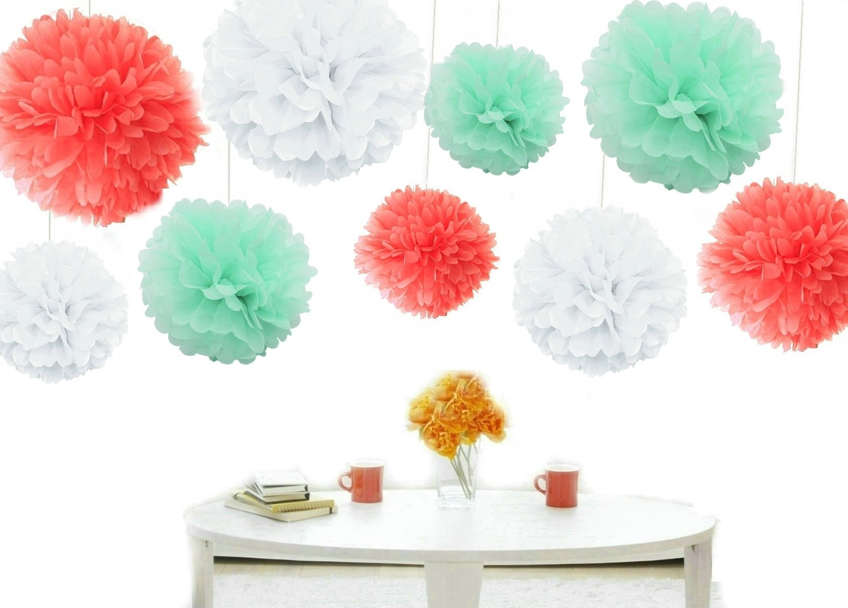 Kubert® Party Tissue Paper Pom-poms Flower Ball of 8, 10, 14-Inch, 18 Pieces, -Coral, Mint Green & White