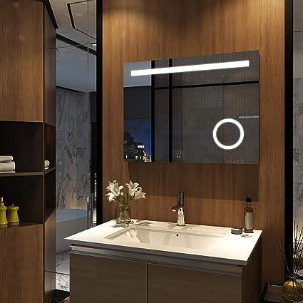 Emke Badspiegel Mit Beleuchtung 60 X 80 Cm Integrieter Schminkspiegel Mit 3 Fach Vergrößerungmit Uhr Sensor Schalter Badezimmerspiegel Wandspiegel
