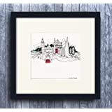 25x25cm Small London Landmarks 'The Shard' Framed Picture Red & Black Frame Wall Art