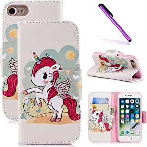 LEECOCO iPhone 5S Case, iPhone SE Case Fancy Printing Floral Wallet Case with Card Cash Holder Slots PU Leather Folio Flip Kickstand Protective Slim Case Cover for iPhone 5 5S Red Unicorn BF