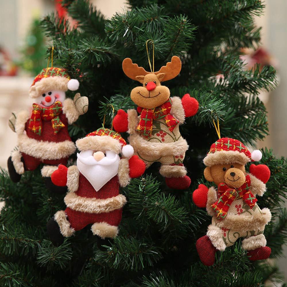 m·kvfa 4Pcs Christmas Xmas Tree Pendant Ornaments Gift Santa Claus Snowman Tree Toy Doll Hang Holiday Party Festivals Decorations