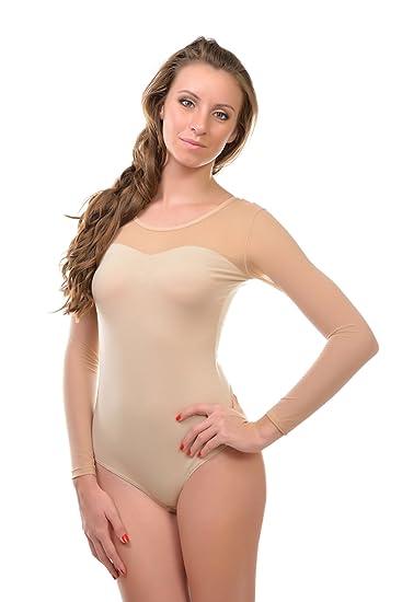 Krisli Damen Body ohne /Ärmel mit T/üll Dekoltee Brazillian Slip