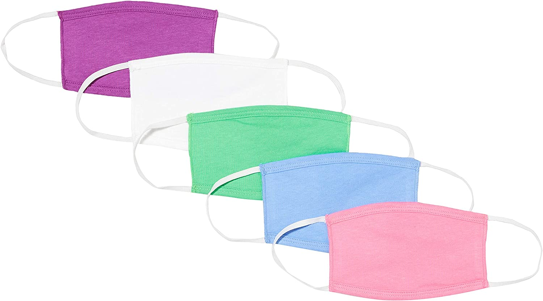 Máscara reutilizable de Niño de Oscar Apparels, 100% algodón con sello de BCI (Better Cotton Initiative) y Cinta Elástica, Mix de 1 (5 pack)