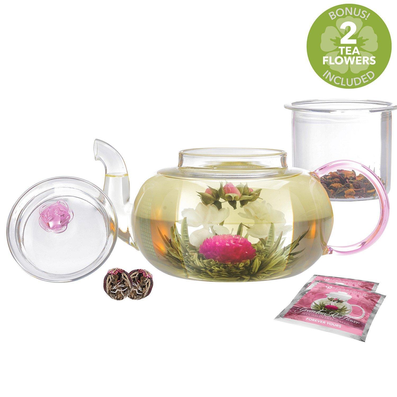 Tetera con rosas de Teabloom Pretty in Pink Resistente al choque t/érmico 1000 ml tetera de vidrio de borosilicato 2 flores de t/é en flor infusor de t/é de vidrio