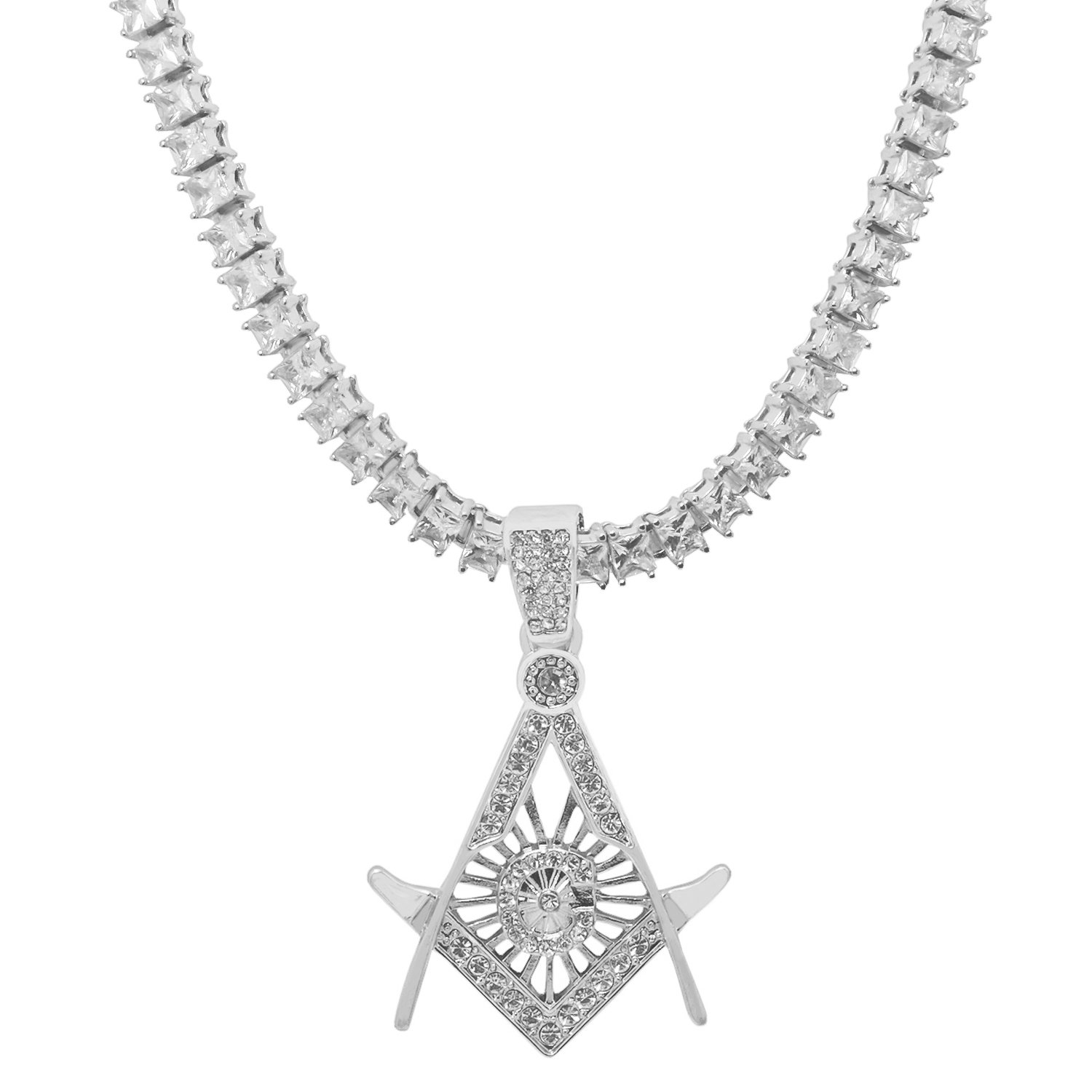 White-Tone Hip Hop Bling Freemason Compass Pendant with 1 Row Princess Cut Cubic Zirconia Stone 24 Tennis Chain
