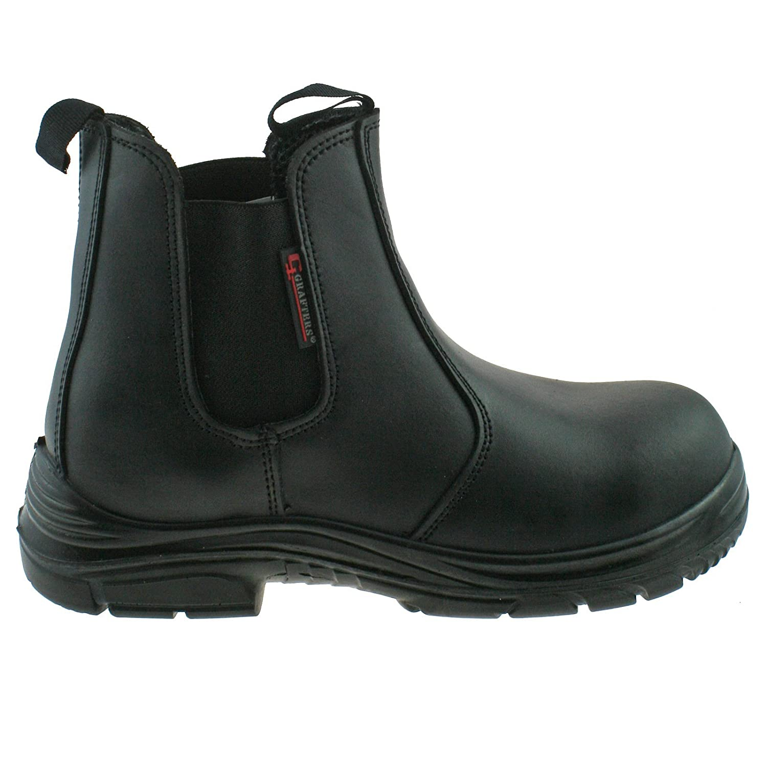 0b93c3733ad Grafters Mens Black Leather Wide Fitting Safety Dealer Boots Size 6–13  M9502A