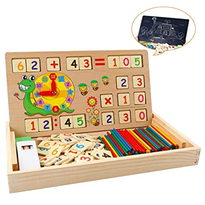 A0ZBZ Kids Learning Education Toy Multifunction Wooden Math Learning Toy Box Baby Early Educational Sensory Toys and Counting Numbers for Baby Children - Multicolor: Toys & Games