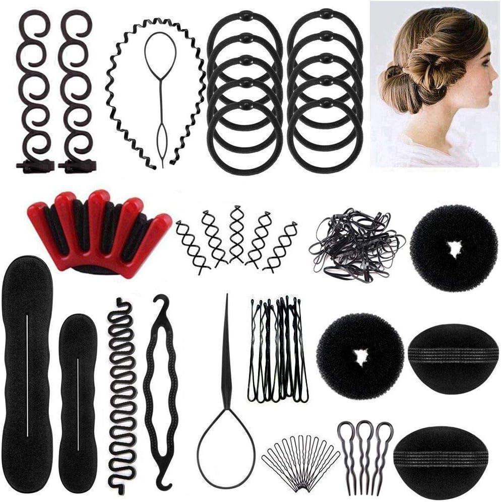 25pcs Accesorios de Peinado, Herramientas Accesorios Hacedor Braid Cabello Trenzado Peinado Clip Herramientas para Diseño de Espuma para Niñas Mujeres con pelo DIY