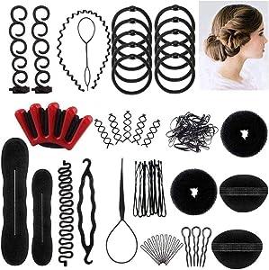 Ealicere 25pcs Accesorios de Peinado, Herramientas Accesorios Hacedor Braid Cabello Trenzado Peinado Clip Herramientas para Diseño de Espuma para Niñas Mujeres con pelo DIY