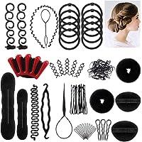 Accessoires de Coiffure,25 Styles Multi Set Outils de coiffure Kit de Coiffure pour Femmes et Filles Convient pour Les Débutants Noir
