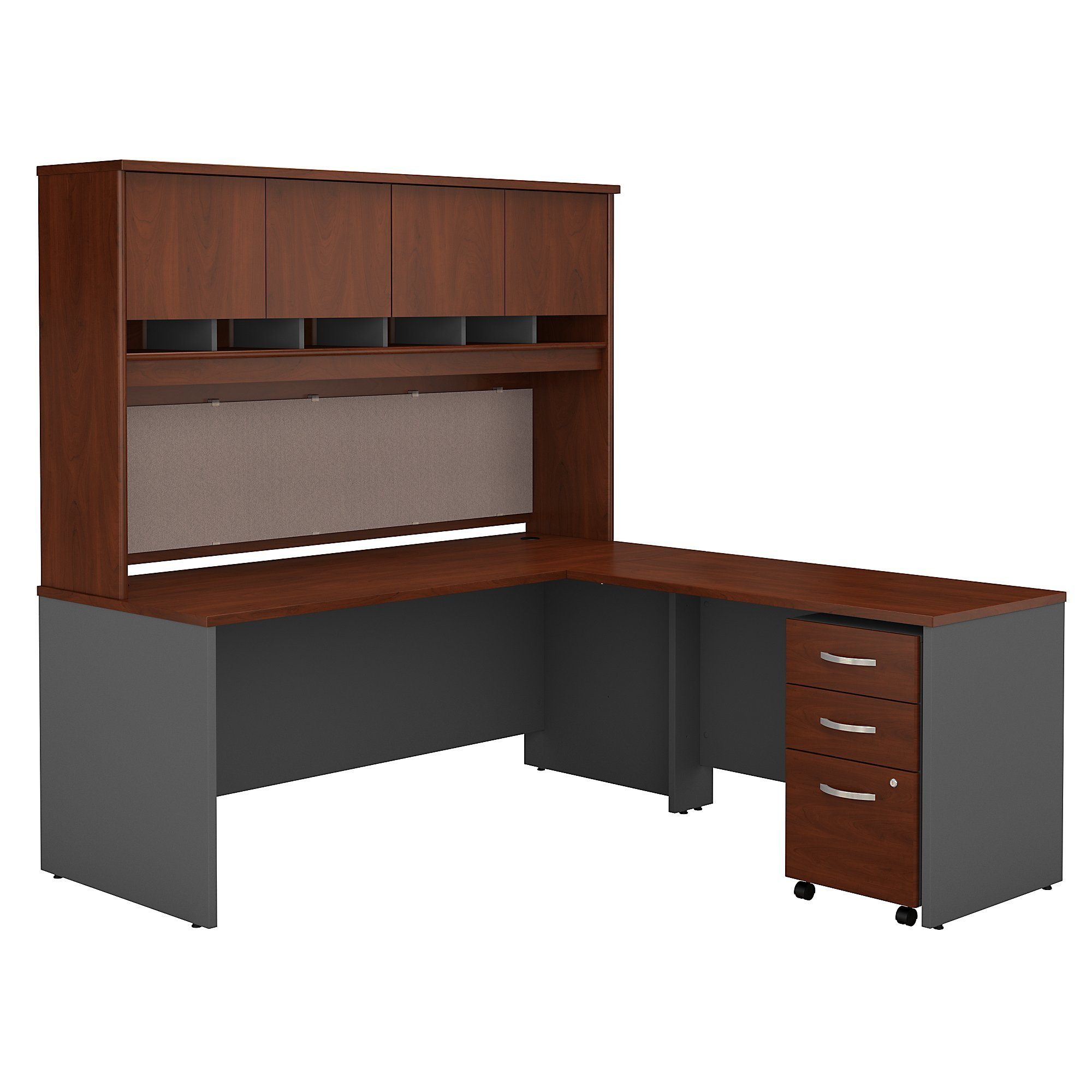 Bush Business Furniture Series C 72W L Shaped Desk with Hutch and Mobile File Cabinet in Hansen Cherry by Bush Business Furniture