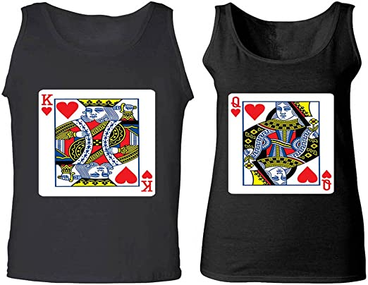 NEW King /& Queen Love Matching Shirts Couple Tee Tank Couple Tank Top