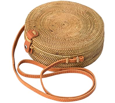 Bali Harvest Round Woven Ata Rattan Bag Linen Inside and Leather Button  (with Genuine Leather bacfcbd6d6e38