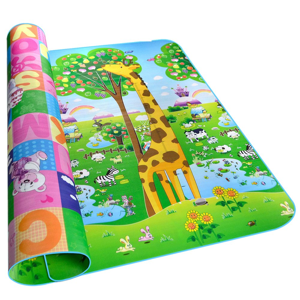 Fani Toddler Play Crawl Mat Baby Playmat Thick&Large Double Sides Non-Toxic Non-Slip Reversible Waterproof Portable Mat Use for Outdoor/Picnic/Beach/Travel (Fruit+Alphabet, 79Inch by 71Inch) Henan Pasi E-commerce Co. Ltd