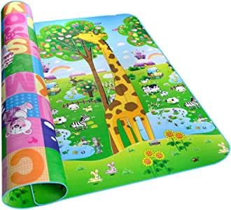 Fani Play Mat Kids Baby Play Crawl Mat Non-Toxic Non-Slip Waterproof Reversible Thick&Large Double Sides Portable Mat Use for Outdoor/Picnic/Beach/Travel (Animal, 79Inch by 71Inch)