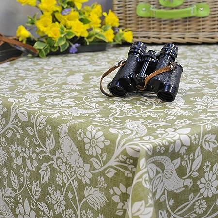Heathland Sage Green Wipe Clean PVC Oilcloth Tablecloth   130cm Wide    Price Per Half Metre