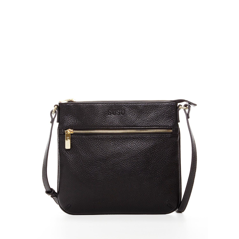 Black Crossbody Bags for Women Small Crossover Purse Genuine Leather Messenger Bag Over The Shoulder Purses and Handbags Designer Across The Body Handbag Lightweight Cross Over for Travel