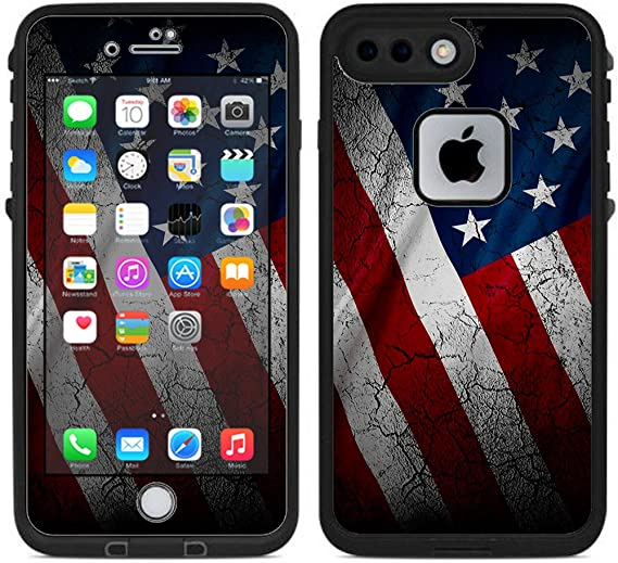 American Flag on Wood Skin Decal for Lifeproof iPhone 7 Plus Fre Case