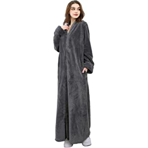 Womens Soft Long Fleece Dressing Gown Full Length Fluffy Bathrobe ... 20add2358