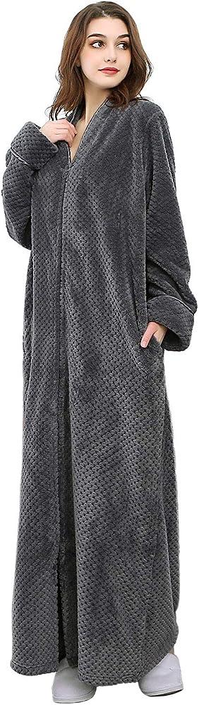 Womens Full Length Bath Robe Ladies Fleece Dressing Gown Housecoat Gift Size