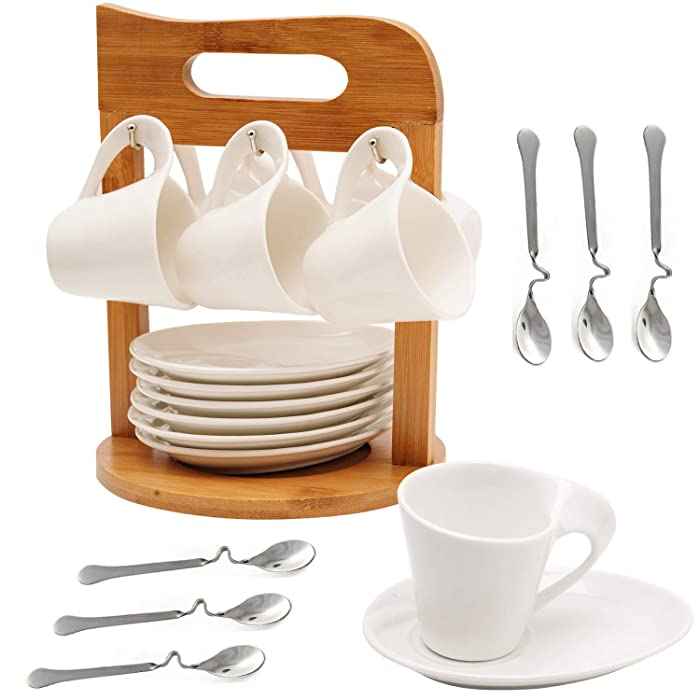 Ceramic Coffee Espresso Cups and Saucers Porcelain Coffee Tea Cup Mug Set of 6 with Bamboo Rack Stand for Home and Office with 6 Bonus Spoons White by SOPRETY
