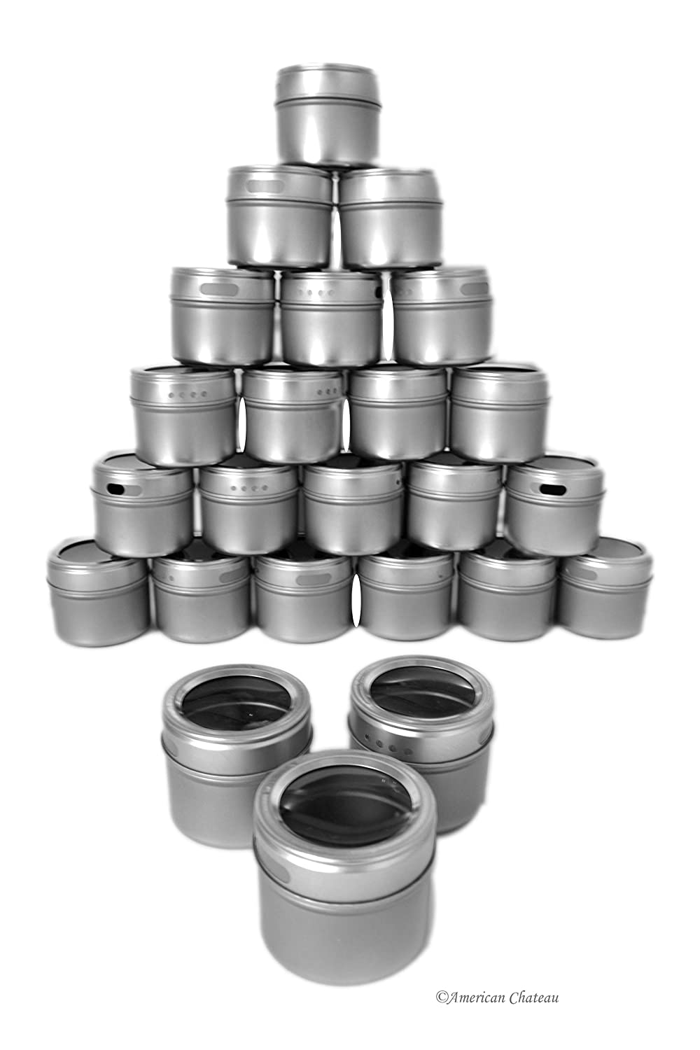 Set 24 Magnetic Stainless Steel 2.5oz Kitchen Spice Home Organization Jars American Chateau