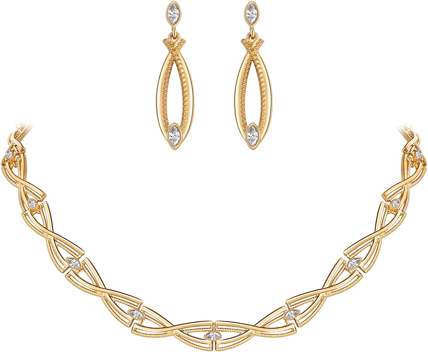 MOOCHI Gold Plated Weaven Style Clear Crystal Beads Necklace Earrings Jewlery Set