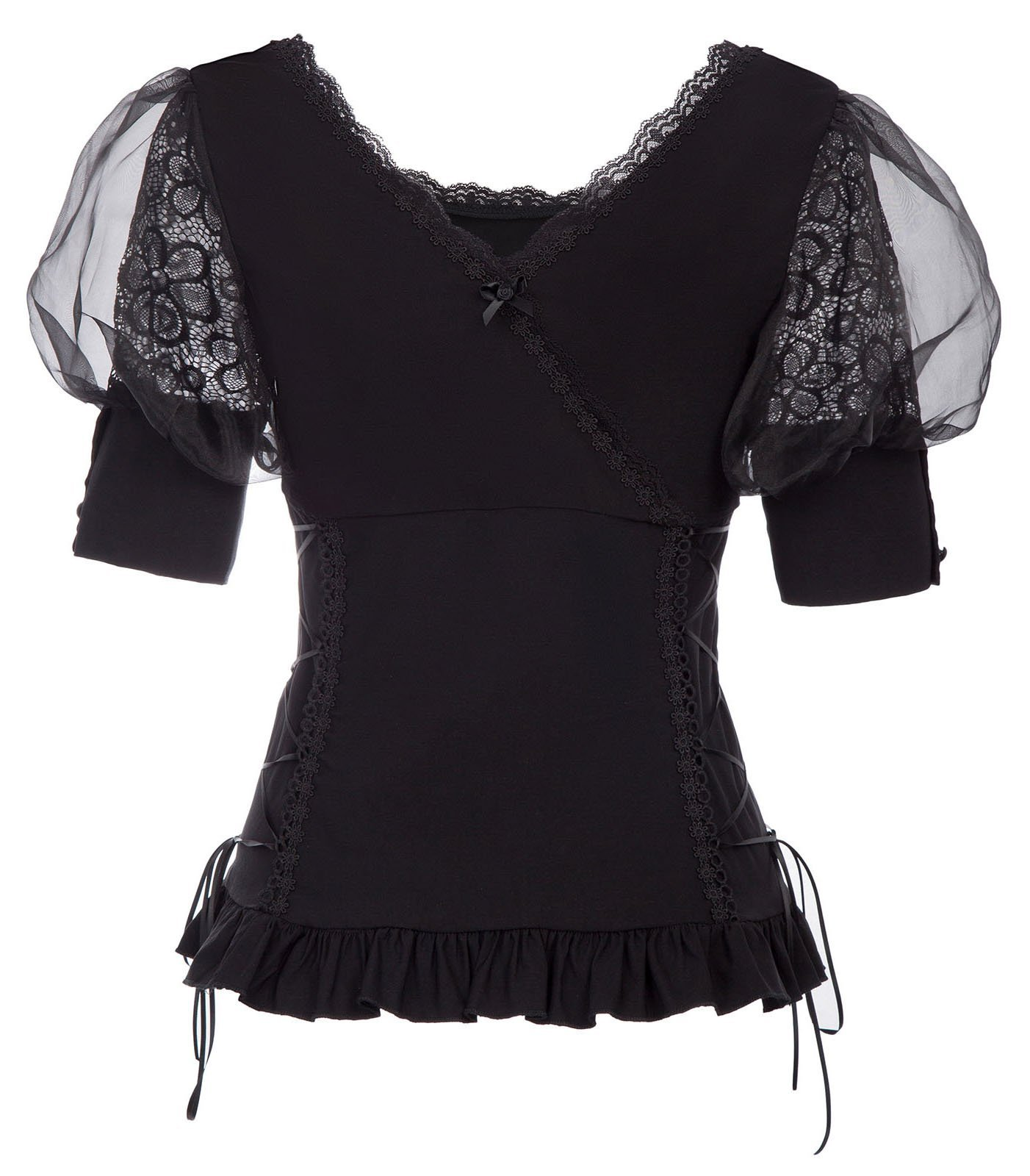 Belle Poque Women Victorian Puff Sleeve Shirt Steampunk Gothic Lace T Shirt Tops 4