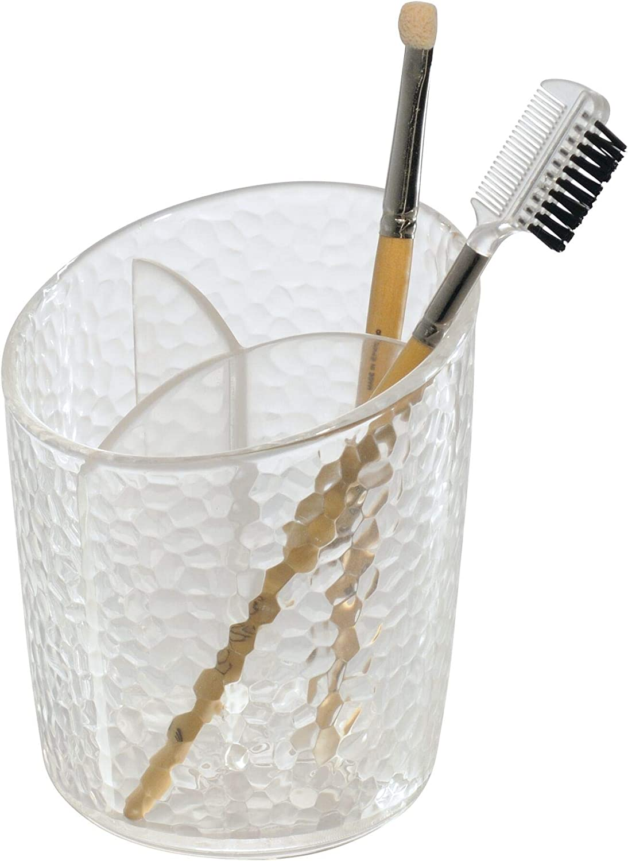 iDesign Organizador de maquillaje, pequeño vaso de baño de plástico para pinceles o máscara de pestañas, elegante portalápices para guardar cosméticos, transparente