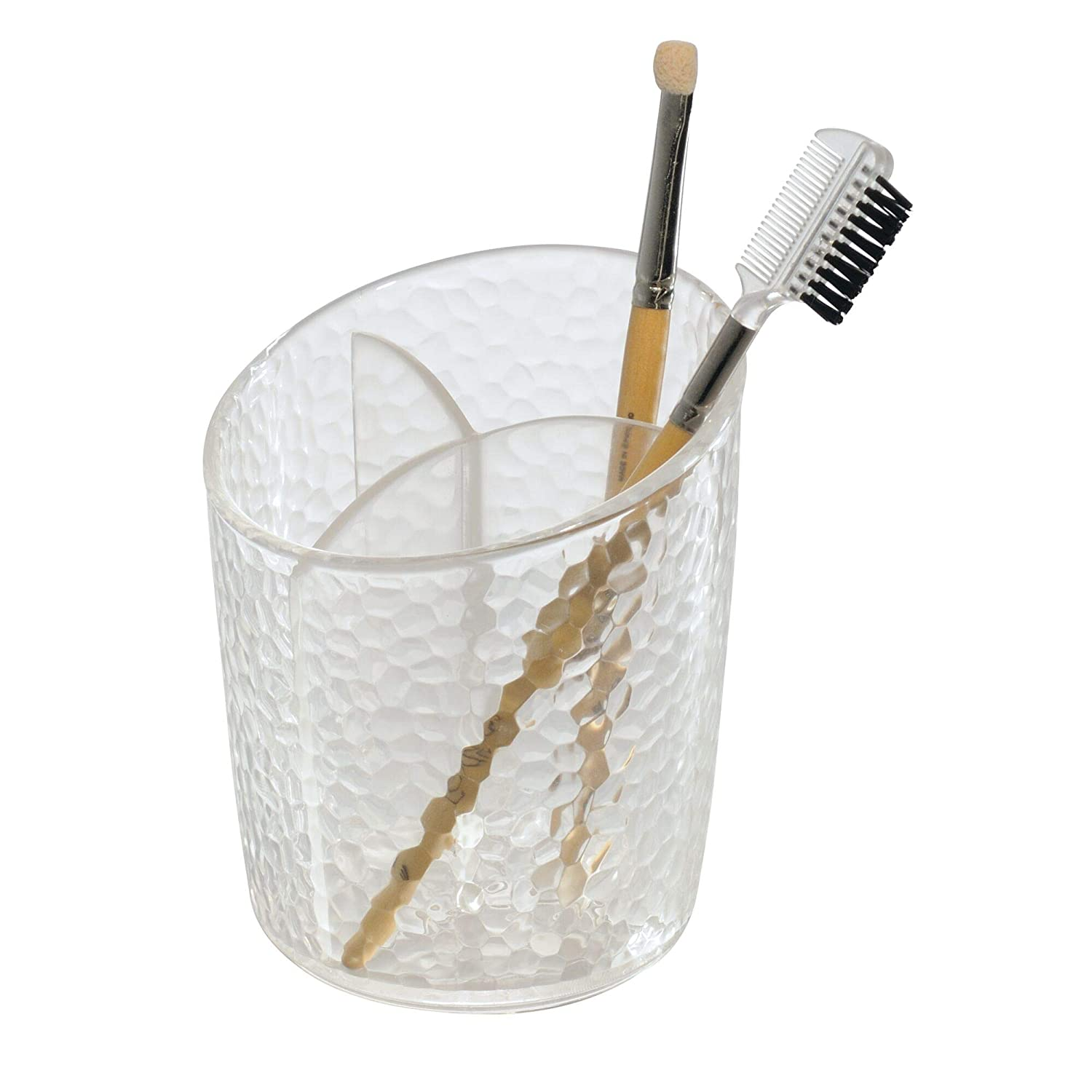 """iDesign Rain Plastic Divided Cosmetic Organizer Cup, Holder for Makeup Brushes, Toothbrushes, Beauty Products on Bathroom, Vanity Countertops, College Dorm, Bedroom Desks, 3.5"""" x 3.5"""" x 4.25"""" - Clear"""