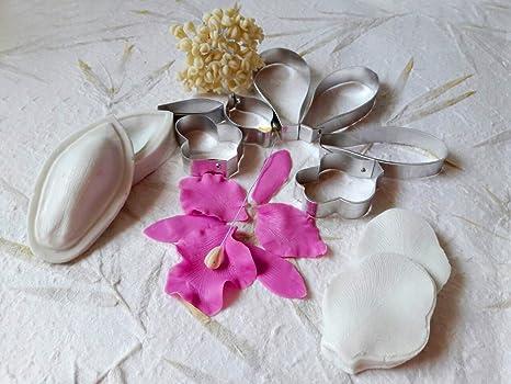 Conjunto de 7 cortadores, dos silicona moldes de pétalos de orquídea y 30 pcs orquídea